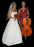Cellist Michelle Kyle with a bride